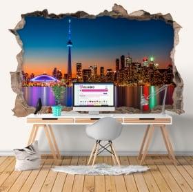 Vinyle trou de mur 3d canada couleurs du coucher du soleil