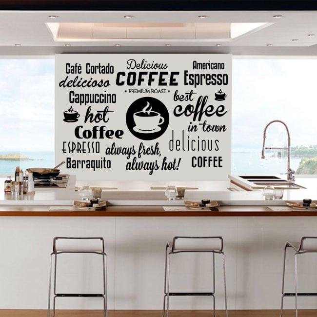 Stickers muraux et autocollants phrases de café