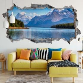 Vinyle trou de mur 3d panoramique lac moraine canada