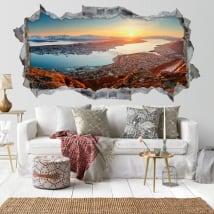 Vinyle trou de mur 3d panoramique coucher de soleil norvégien