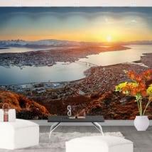 Peintures murales en vinyle coucher de soleil en norvège