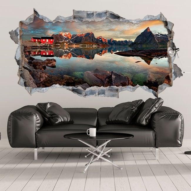 vinyle trou dans le mur panoramique reine norv ge 3d. Black Bedroom Furniture Sets. Home Design Ideas