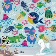 Peintures murales de vinyle pour enfants animaux à décorer