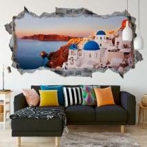 Vinyle panoramique santorin grèce île 3d