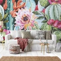 Peintures murales en vinyle cactus à l'aquarelle