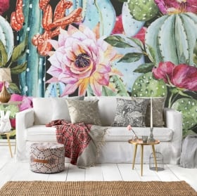 Peintures murales en vinyle fleurs de paradis tropical