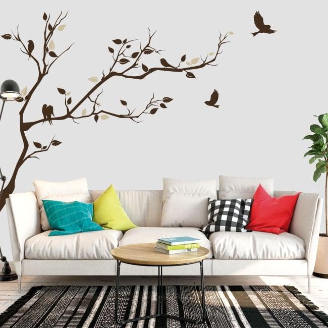 Vinyle branche d'arbre et oiseaux à décorer