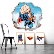 Stickers muraux trou superman 3d