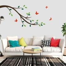 Vinyle décoratif branche d'arbre et papillons