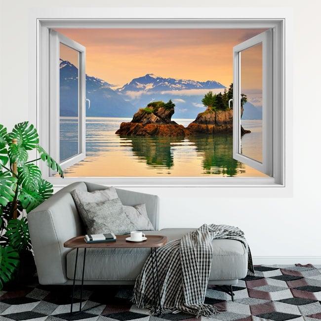 Vinyle des fenêtres coucher de soleil au prince william alaska 3d