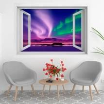 Fenêtres en vinyle aurora borealis ou polaires 3d