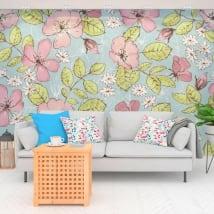 Peintures murales adhésives fleurs à décorer