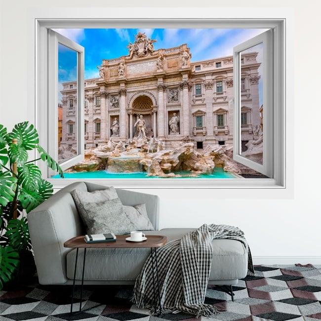 Vinyle adhésif des fenêtres rome fontana di trevi 3d