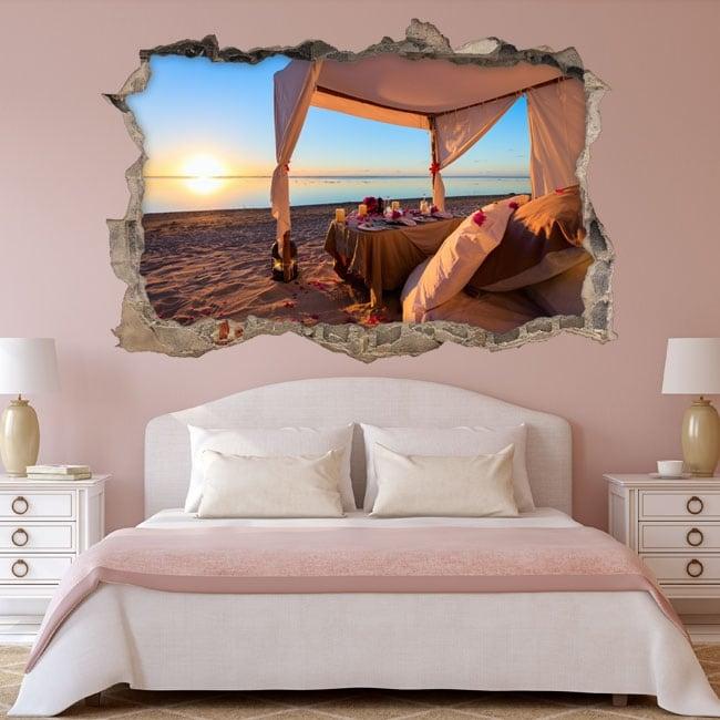 Vinyle coucher de soleil romantique sur la plage 3d