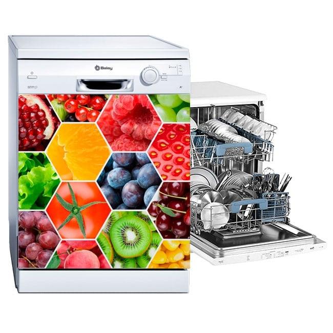 Vinyle lave-vaisselle collage de fruits et légumes