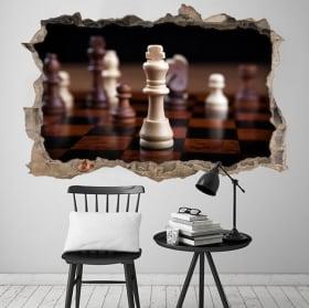 Vinyles 3d roi d'échecs trou mur