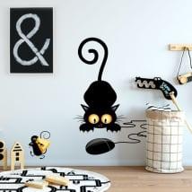 Vinyle décoratif et autocollants chat et la souris