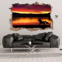 Vinyles 3d cheval et nature mur de trou