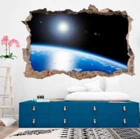 Vinyles 3d planète terre mur de trou