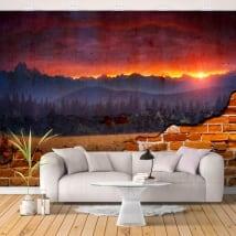 Peintures murales mur cassé coucher de soleil dans la nature