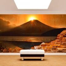 Papiers peints mur cassé coucher de soleil sur le lac fuji kawaguchi
