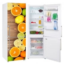 Vinyle et autocollants décorer les réfrigérateurs des fruits fond bois