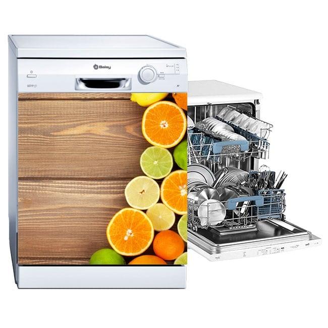 Vinyle et autocollants décorer le lave-vaisselle fruits fond bois