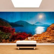 Murales en vinyle coucher de soleil mont fuji mur cassé