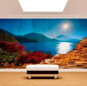 Photo murale coucher de soleil sur la mer mur cassé