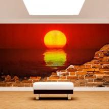 Murales en vinyle mer coucher de soleil mur cassé