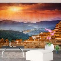 Photos murales montagnes du coucher du soleil mur cassé