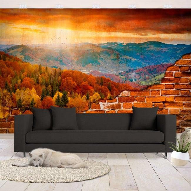 Peintures murales vinyles coucher de soleil dans les montagnes mur cassé