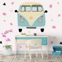 Vinyle volkswagen t1 kombi avec des fleurs et des triangles