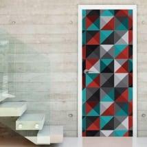 Vinyle et autocollants portes et armoires triangles rétro