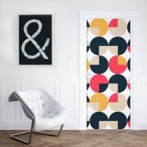 Vinyle décorer les portes et les armoires cercles rétro