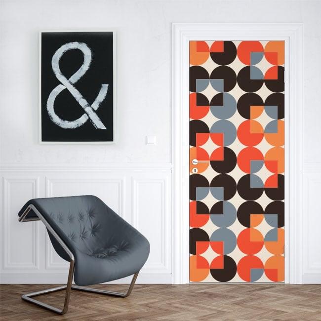 Vinyle pour les portes cercles colorés rétro