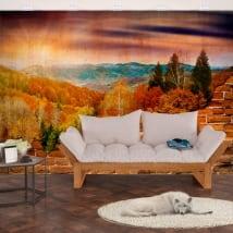 Murales en vinyle montagnes du coucher du soleil effet de mur cassé