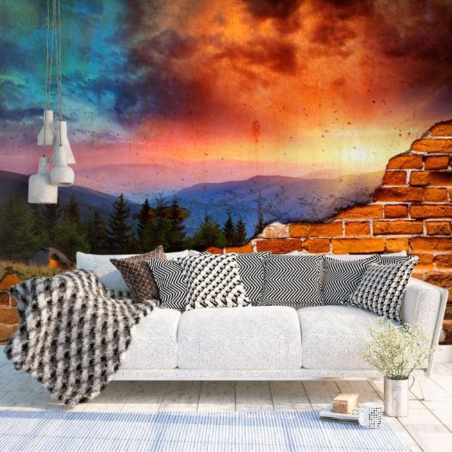 Muraux effet de mur brisé montagnes coucher de soleil