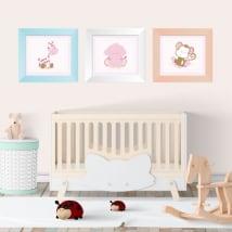 Vinyle animaux pour enfants images encadrées effet 3d