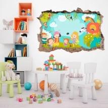 Vinyle et autocollants pour enfants famille dans le zoo 3d