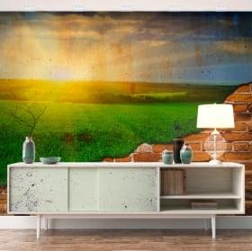 Peintures murales coucher de soleil sur le terrain effet de mur cassé