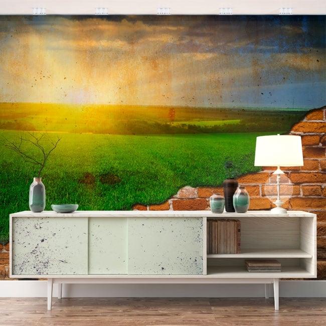 Peintures murales soleil à l'horizon effet mur brisé