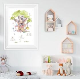 Vinyle pour enfants éléphants et tortues image effet 3d