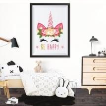 Vinyle adhésif licorne être heureux image effet 3d