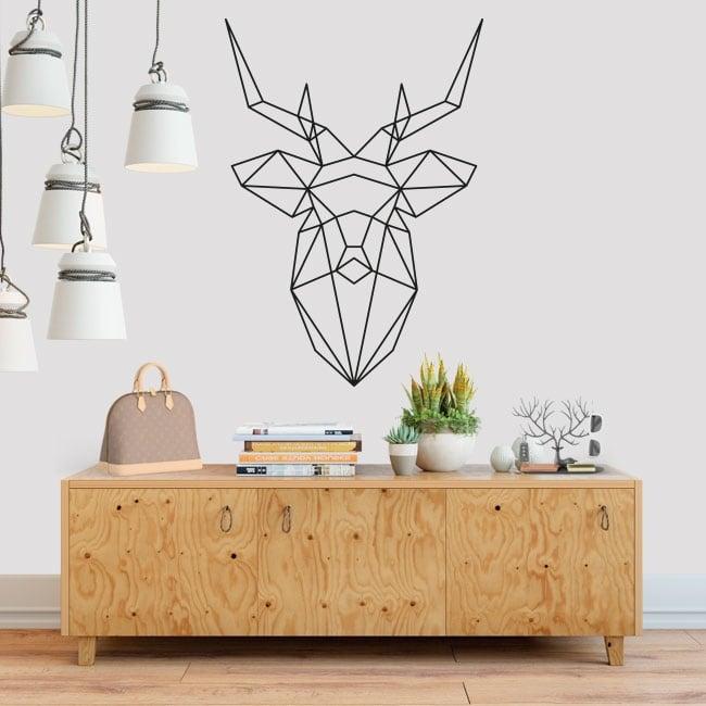 Vinyle décoratif origami géométrique tête de cerf
