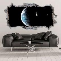 Vinyles 3d planète terre et lune trou dans le mur