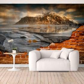 Peintures de vinyle îles lofoten norvège effet de mur brisé