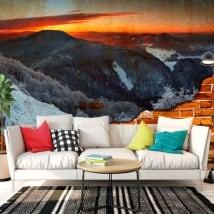 Peintures de vinyle lever du soleil dans les montagnes effet de mur brisé