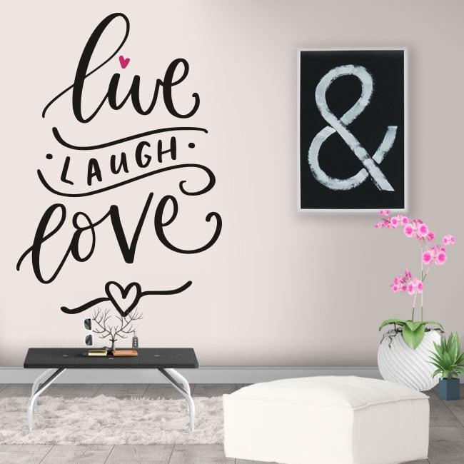 Vinyle décoratif phrase en anglais vivre rire amour