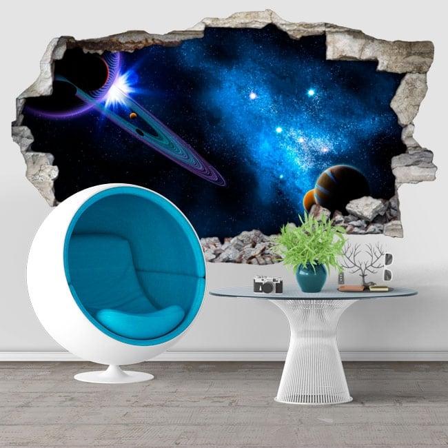 Vinyle décoratif galaxie paroi du trou 3d